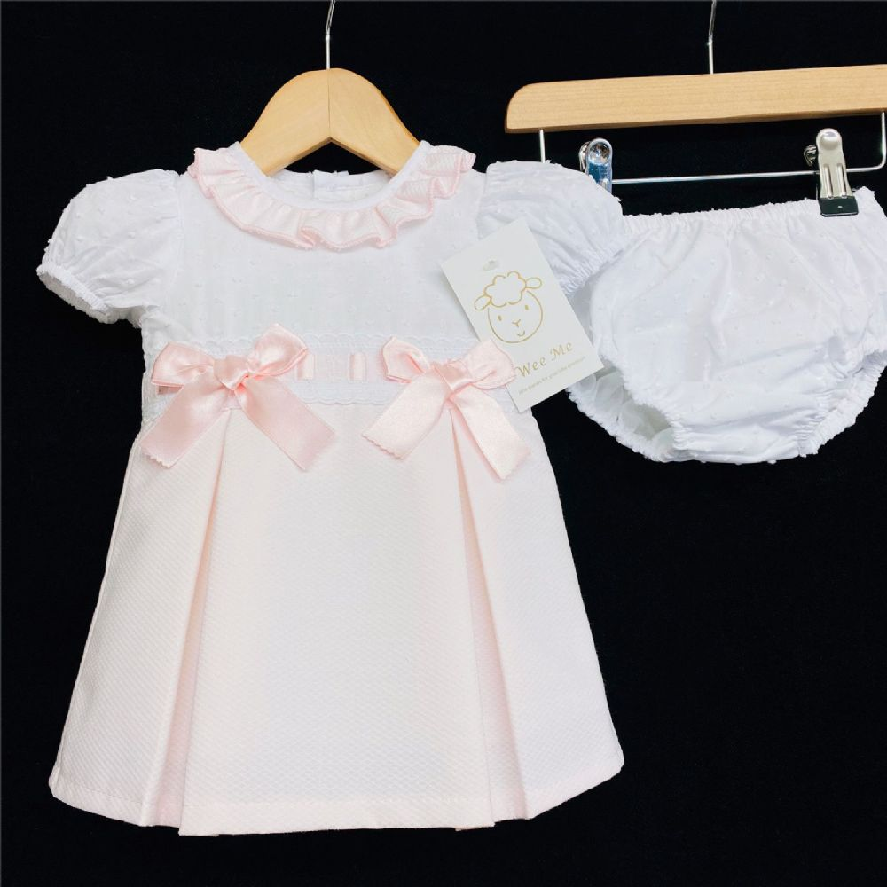 * Baby Girl Spanish Pink Waffle Princess Dress Pants Set